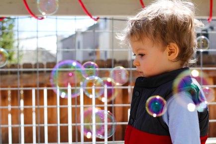 Matthew loves his bubbles!