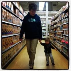 Grandma and M shopping.